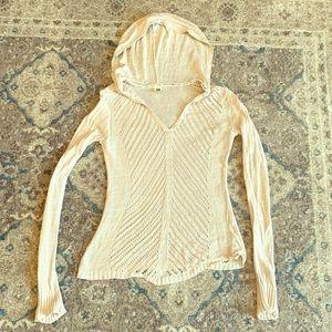 Roxy tan size medium crochet pull over